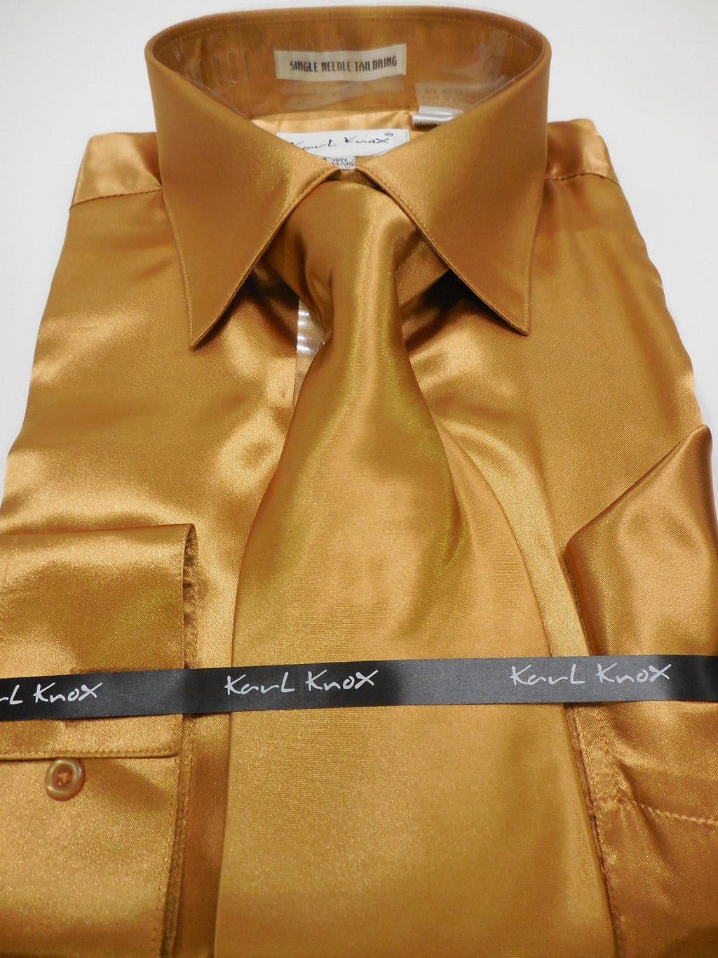 Mens Karl Knox Shiny Copper Golden Brown Silky Satin Formal Dress Shirt & Tie - Nader Fashion Las Vegas