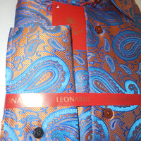 Mens Bright Copper Orange & Blue Paisley Motif Leonardi Fashion Shirt Style 396 - Nader Fashion Las Vegas