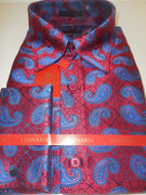 Mens Sophisticated Dark Red & Blue Ultra High Collar Leonardi Shirt Style 381 - Nader Fashion Las Vegas