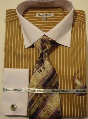 Mens Sophisticated Two Tone Tan Striped Cuffed Dress Shirt Daniel Ellissa DS3764 - Nader Fashion Las Vegas