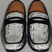 Mens Black White Elegant Exotic Snake Look Loafers Shoes Antonio Cerrelli 6494 - Nader Fashion Las Vegas