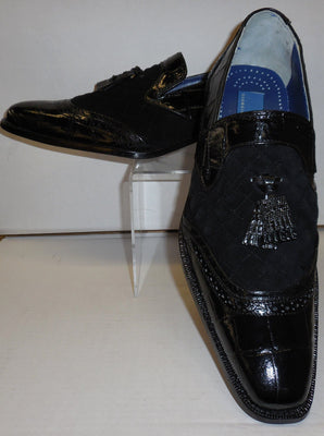 Mens Black Crocodile Embossed Dress Loafers Tassel Detail Giorgio Brutini 210791 - Nader Fashion Las Vegas