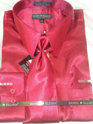 Mens Daniel Ellissa Shiny Rich Burgundy Formal Satin Dress Shirt, Tie & Hanky - Nader Fashion Las Vegas