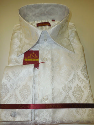 Mens White Damask Impression High Collar French Cuff Designer Shirt SANGI 1011