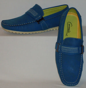 Mens Fun Stylish Boat Shoes Driving Mocs Soft Touch Feel Moc6-Blue - Nader Fashion Las Vegas