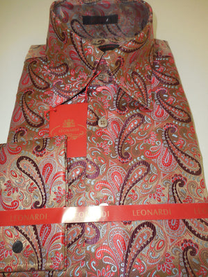 Mens Cafe Latte Paisley Sheen Ultra High Collar Cuffed Leonardi Shirt Style 382 - Nader Fashion Las Vegas