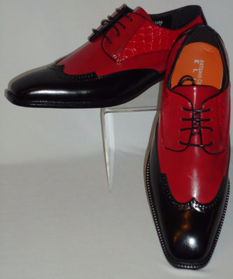 Mens Cool Fashionable Red & Black Wing Tip Dress Shoes Antonio Cerrelli 6680 - Nader Fashion Las Vegas