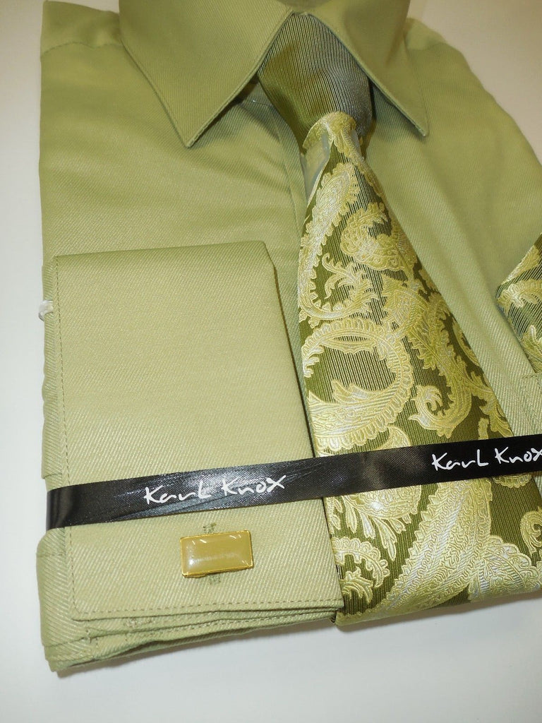 Mens Lovely Sage Green French Cuff Dress Shirt with Panel Tie Karl Knox 4351