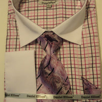 Mens Purple Plaid Dress Shirt w/ White French Cuff Collar Daniel Ellissa DS3765 - Nader Fashion Las Vegas