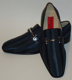 Mens Elegant Navy Blue Satin Stripe Tux Dress Loafers Shoes Expressions 6757 - Nader Fashion Las Vegas