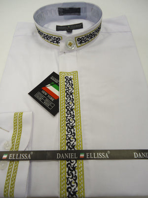 Mens DS3111C Elegant White Gold/Black Design Long Sleeve Banded No Collar Shirt - Nader Fashion Las Vegas