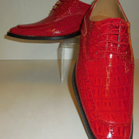 Mens Cool Shiny Bright Red Croco Embossed Dress Shoes Roberto Chillini 6548 - Nader Fashion Las Vegas