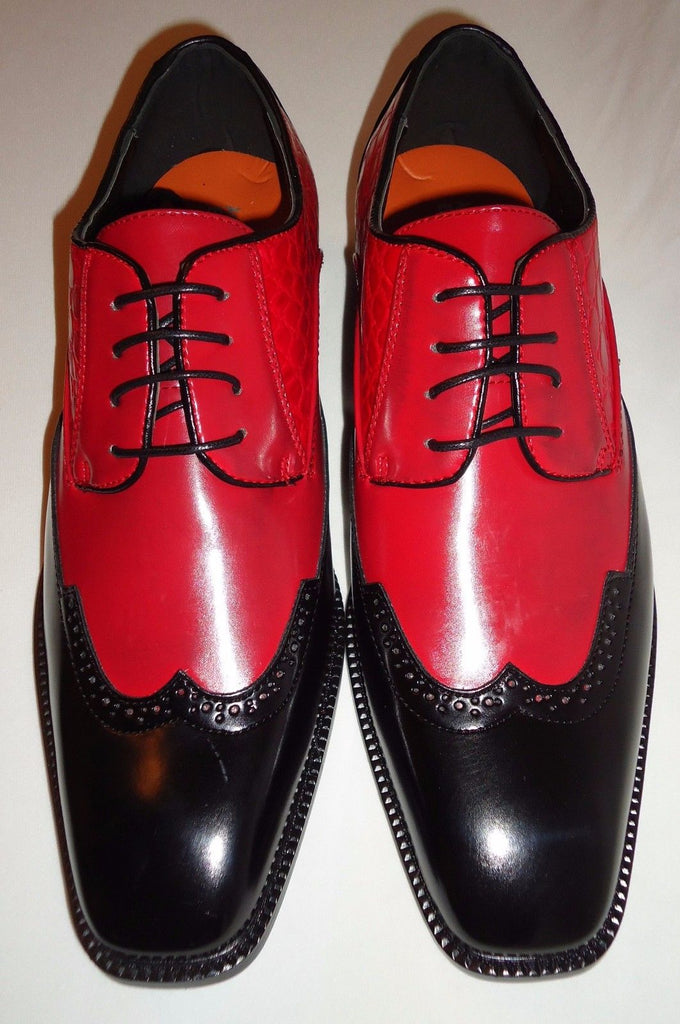Mens Cool Fashionable Red & Black Wing Tip Dress Shoes ...