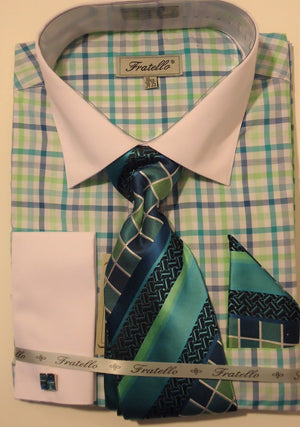 Mens Cool Green Checks White Cuff Collar Dress Shirt + Tie Set Fratello FRV4114 - Nader Fashion Las Vegas