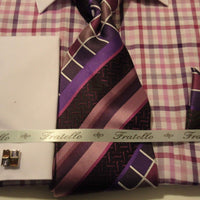 Mens Dark Purple Checks White Cuff Collar Dress Shirt + Tie Set Fratello FRV4114 - Nader Fashion Las Vegas