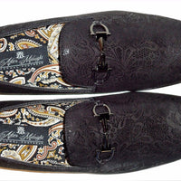 Mens Incredible Black & Shiny Metallic Black Foil Loafers After Midnight 6682 - Nader Fashion Las Vegas