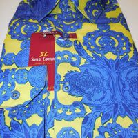 Mens Royal Blue & Neon Medallion Modern Fit Clubbing Shirt Suslo Couture M10 - Nader Fashion Las Vegas