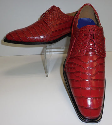 Mens Red Embossed Gator-Look Pointed Toe Dress Shoes Roberto Chillini 6563 - Nader Fashion Las Vegas