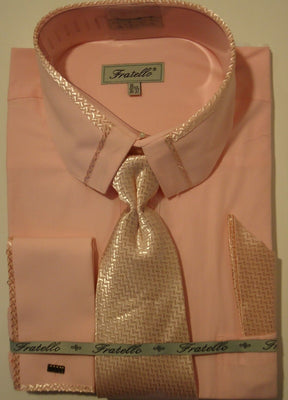 Mens Pink Cropped Collar French Cuff Dress Shirt + Matching Tie Fratello DS3733 - Nader Fashion Las Vegas