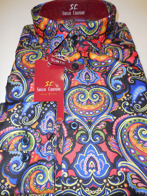 Mens Cool Day of the Dead Color & Theme Fitted Style Shirt by Suslo Couture M11 - Nader Fashion Las Vegas
