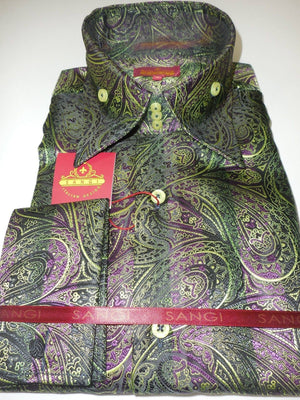Mens Green Purple Black Exquisite Paisley Cuffed High Collar Shirt SANGI 1029 - Nader Fashion Las Vegas