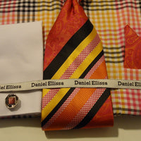 Mens Fuschia Multi Color Check Pattern French Cuff Shirt Daniel Ellissa DS3760 - Nader Fashion Las Vegas