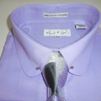 Mens Classy Lilac Lavender Club Pin Collar Bar Cuffed Dress Shirt Karl Knox 4368 - Nader Fashion Las Vegas