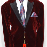 Mens Fancy Gorgeous Burgundy Velvet Jacket Black Lapel Formal Look 525-31 - Nader Fashion Las Vegas