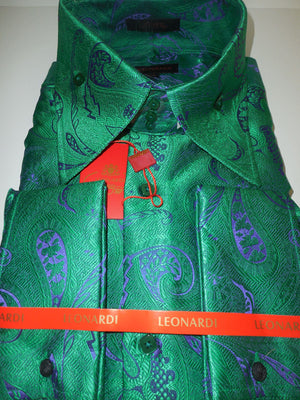 Mens Emerald Green Shine French Cuff Leonardi Shirt Style 443 Collar Stands Tall - Nader Fashion Las Vegas