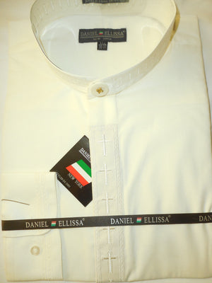 Mens Mandarin Collarless Long Sleeve Dress Shirt Cream w/ Cream DS2005C - Nader Fashion Las Vegas