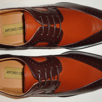 Mens Sophisticated Rich Brown & Cognac Wingtip Dress Shoes Antonio Cerrelli 6607 - Nader Fashion Las Vegas