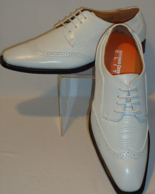 Mens Vintage White on White Wing Tip Look Dress Shoes Antonio Cerrelli 6608 - Nader Fashion Las Vegas