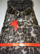Mens Brown Leopard Gold Speckle High Collar French Cuff Leonardi Shirt Style 445 - Nader Fashion Las Vegas