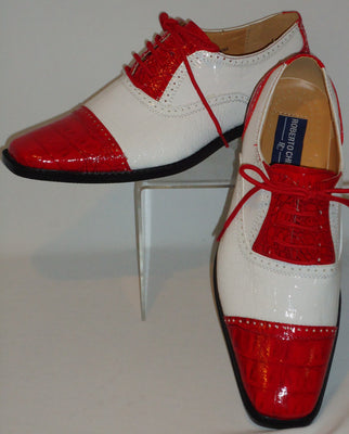 Mens Retro Fashion Red & White Faux Croco Dress Shoes Roberto Chillini 6600 - Nader Fashion Las Vegas