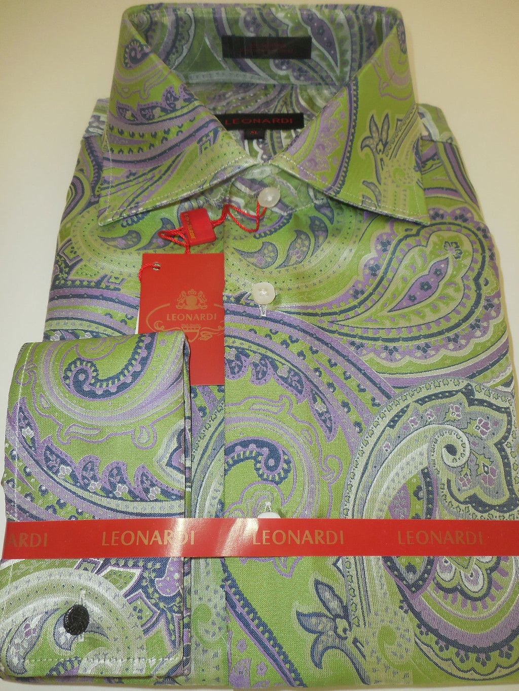 Mens Lite Lime & Lavender Exquisite Paisley French Cuff Leonardi Shirt Style 374 - Nader Fashion Las Vegas
