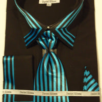 Mens Bold Black Teal French Cuff Dress Shirt Matching Tie Daniel Ellissa DS3757 - Nader Fashion Las Vegas