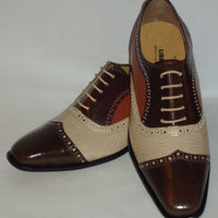 Mens Awesome Stand Out Brown Beige Cognac Wing Tip Dress Shoes Liberty LS1047 - Nader Fashion Las Vegas