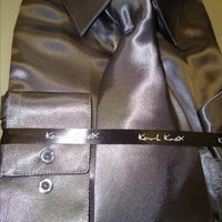 Mens Karl Knox Shiny Charcoal Gray Silky Satin Formal Dress Shirt Tie & Hanky - Nader Fashion Las Vegas