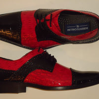 Mens Old School Black + Red Shiny Croco Look Dress Shoes Roberto Chillini 6744 - Nader Fashion Las Vegas