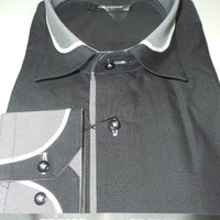 Mens Awesome Black Clubbing Shirt w/ Cool Gray Cuff & Collar Del Fiore 33/01 - Nader Fashion Las Vegas