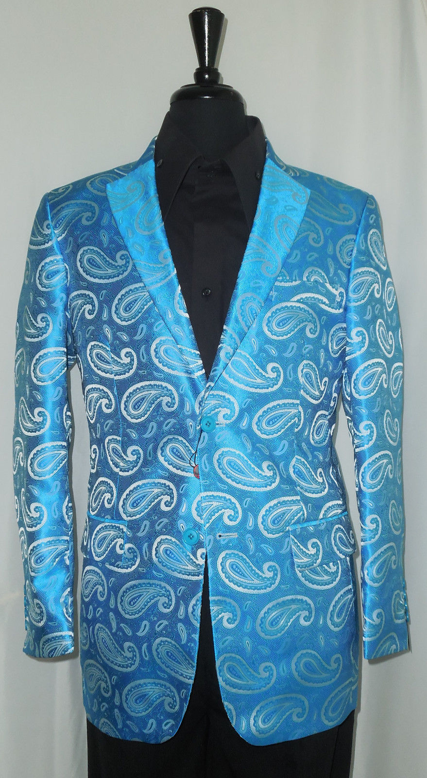 Mens Designer Leonardi Beautiful Shiny Turquoise Paisley Party Jacket Style 864 - Nader Fashion Las Vegas
