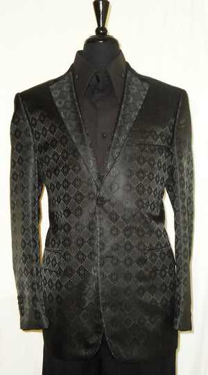Mens Shiny Black Diamond Medallion Modern Fit Leonardi Jacket Blazer Style 902 - Nader Fashion Las Vegas