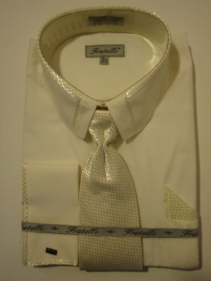 Mens Ivory Cream Cropped Collar French Cuff Dress Shirt + Tie Fratello DS3733 - Nader Fashion Las Vegas