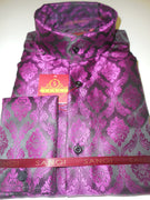 Mens Elegant Damask Black Purple Hue Banded Collarless Shirt SANGI Style 1006 - Nader Fashion Las Vegas
