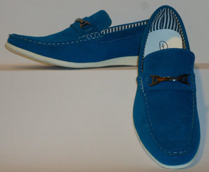 Mens Stylish Casual Dress Loafers Driving Shoes Fun Blue Color Cody2-Blue - Nader Fashion Las Vegas