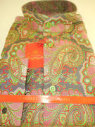 Mens Leonardi Collarless Banded Cuffed Shirt Salmon & Gray Paisley Style 339 - Nader Fashion Las Vegas