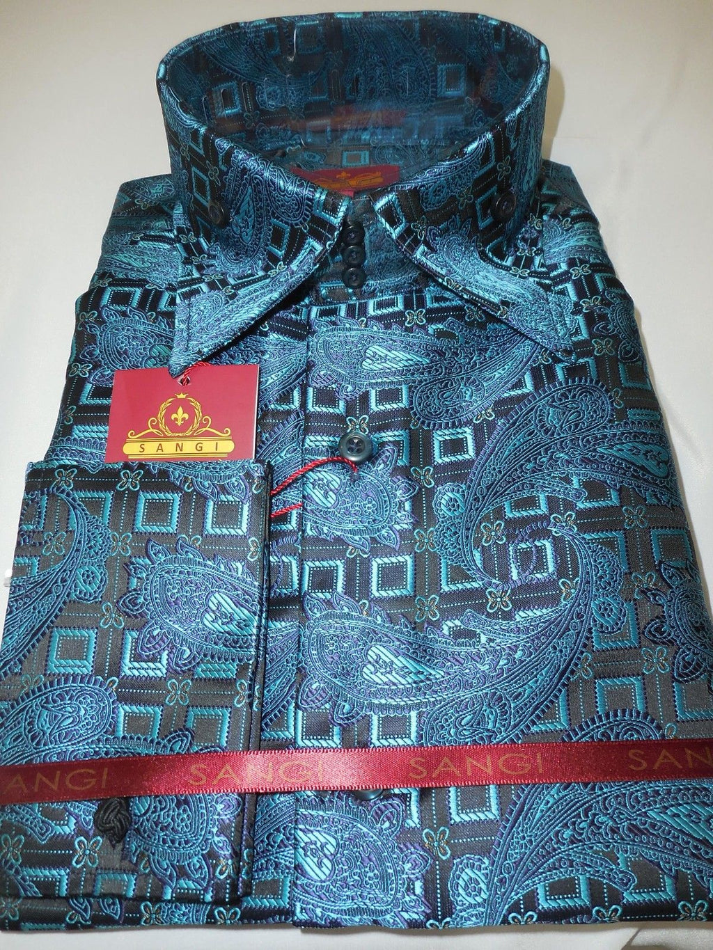 Mens Black Turquoise Paisley Cube High Collar French Cuff Shirt SANGI 1033 - Nader Fashion Las Vegas