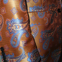 Mens Burnt Orange Aztec Paisley Pattern Fashion Blazer by Leonardi Style 855 - Nader Fashion Las Vegas