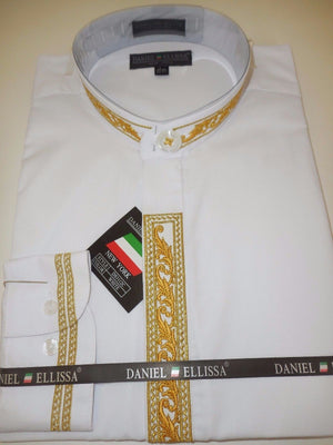 Mens Collarless Mandarin No Collar Dress Shirt White Bright Gold DS3112C - Nader Fashion Las Vegas
