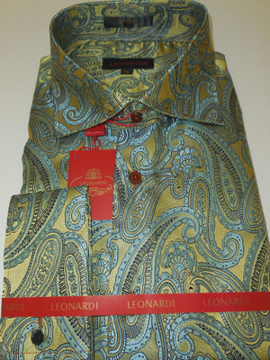 Mens Light Teal Gold Essence Deluxe Woven Fabric Leonardi Dressy Shirt Style 401 - Nader Fashion Las Vegas
